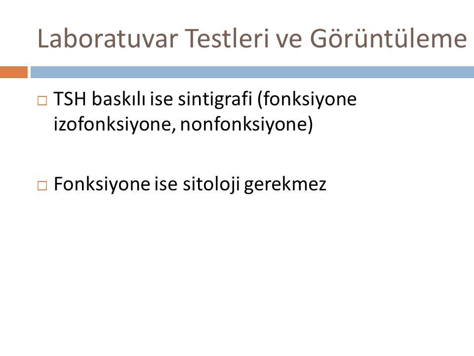 Laboratuvar Testleri ve Görüntüleme  TSH baskılı ise sintigrafi (fonksiyone izofonksiyone, nonfonksiyone)  Fonksiyone ise sitoloji gerekmez