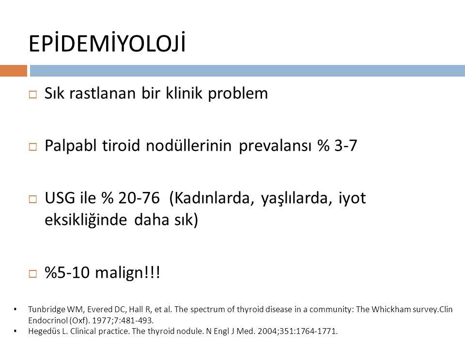 EPİDEMİYOLOJİ  Sık rastlanan bir klinik problem  Palpabl tiroid nodüllerinin prevalansı % 3-7  USG ile % 20-76 (Kadınlarda, yaşlılarda, iyot eksikliğinde daha sık)  %5-10 malign!!.