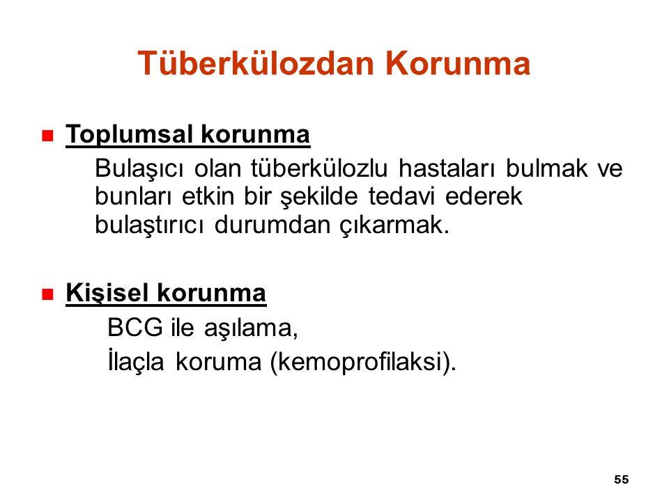 55 Tüberkülozdan Korunma Toplumsal korunma Bulaşıcı olan tüberkülozlu hastaları bulmak ve bunları etkin bir şekilde tedavi ederek bulaştırıcı durumdan çıkarmak.