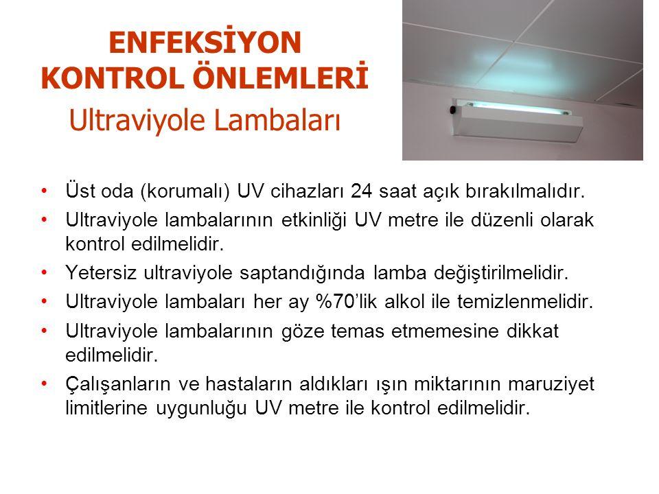 ENFEKSİYON KONTROL ÖNLEMLERİ Ultraviyole Lambaları Üst oda (korumalı) UV cihazları 24 saat açık bırakılmalıdır.