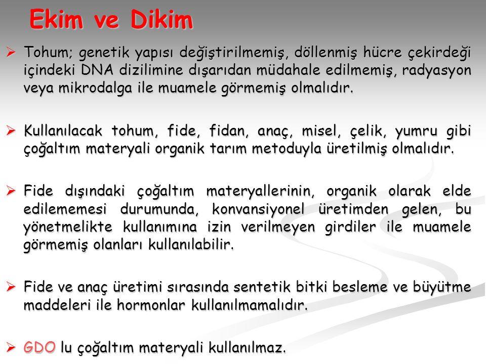 Ekim ve Dikim  Tohum; genetik yapısı değiştirilmemiş, döllenmiş hücre çekirdeği içindeki DNA dizilimine dışarıdan müdahale edilmemiş, radyasyon veya mikrodalga ile muamele görmemiş olmalıdır.