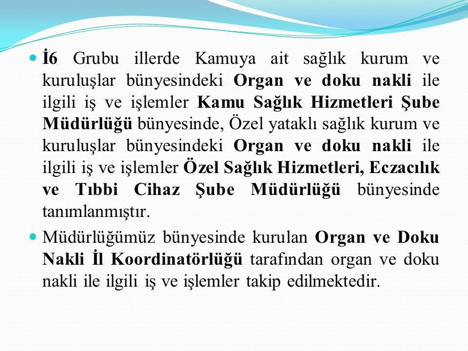 İ6 Grubu illerde Kamuya ait sağlık kurum ve kuruluşlar bünyesindeki Organ ve doku nakli ile ilgili iş ve işlemler Kamu Sağlık Hizmetleri Şube Müdürlüğ