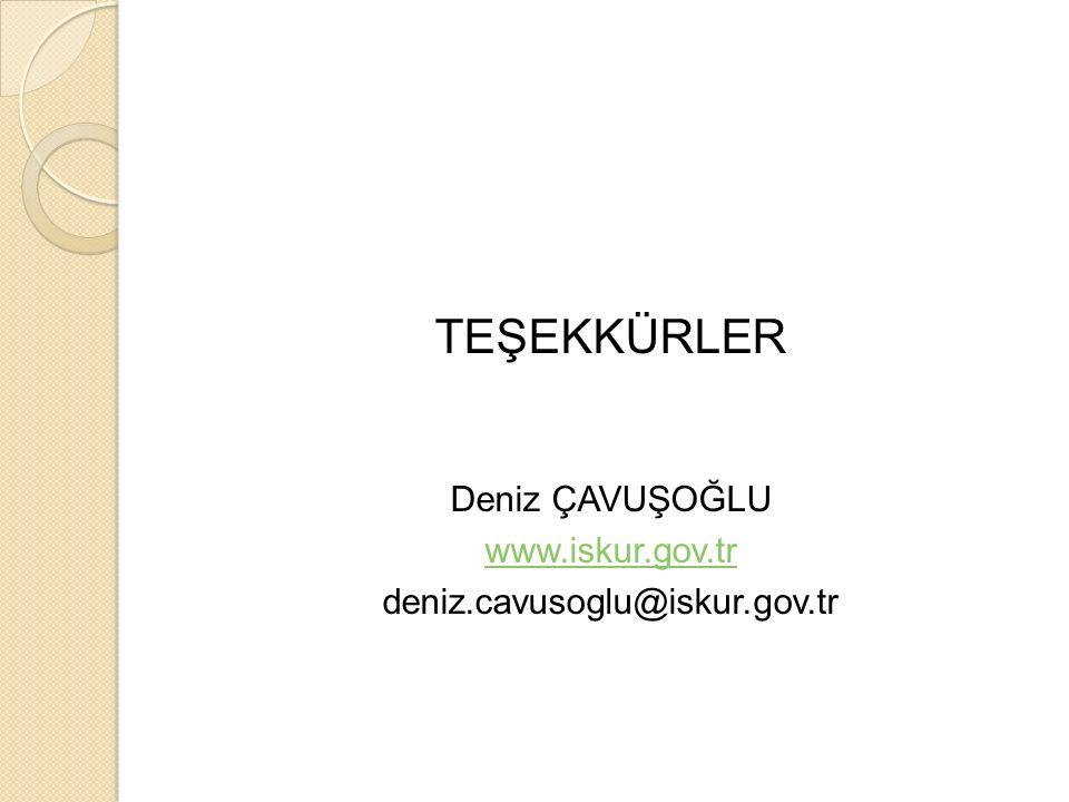 TEŞEKKÜRLER Deniz ÇAVUŞOĞLU www.iskur.gov.tr deniz.cavusoglu@iskur.gov.tr