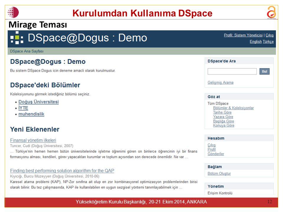 Kurulumdan Kullanıma DSpace Yükseköğretim Kurulu Başkanlığı, 20-21 Ekim 2014, ANKARA 12 Mirage Teması