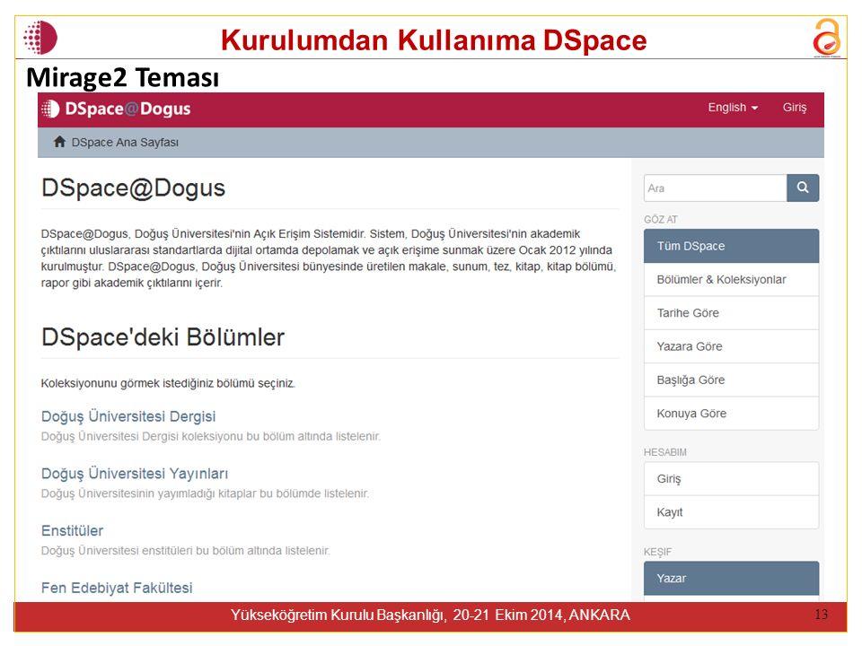 Kurulumdan Kullanıma DSpace Yükseköğretim Kurulu Başkanlığı, 20-21 Ekim 2014, ANKARA 13 Mirage2 Teması