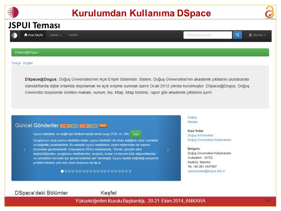 Kurulumdan Kullanıma DSpace Yükseköğretim Kurulu Başkanlığı, 20-21 Ekim 2014, ANKARA 14 JSPUI Teması