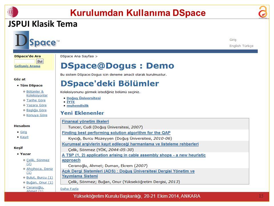 Kurulumdan Kullanıma DSpace Yükseköğretim Kurulu Başkanlığı, 20-21 Ekim 2014, ANKARA 15 JSPUI Klasik Tema