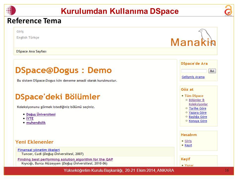 Kurulumdan Kullanıma DSpace Yükseköğretim Kurulu Başkanlığı, 20-21 Ekim 2014, ANKARA 16 Reference Tema
