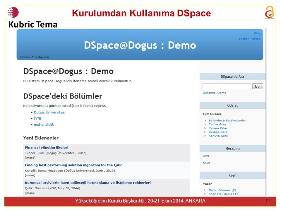 Kurulumdan Kullanıma DSpace Yükseköğretim Kurulu Başkanlığı, 20-21 Ekim 2014, ANKARA 17 Kubric Tema