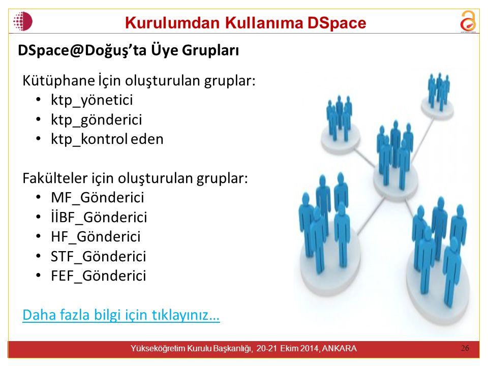 Kurulumdan Kullanıma DSpace Yükseköğretim Kurulu Başkanlığı, 20-21 Ekim 2014, ANKARA 26 Kütüphane İçin oluşturulan gruplar: ktp_yönetici ktp_gönderici ktp_kontrol eden Fakülteler için oluşturulan gruplar: MF_Gönderici İİBF_Gönderici HF_Gönderici STF_Gönderici FEF_Gönderici Daha fazla bilgi için tıklayınız… DSpace@Doğuş'ta Üye Grupları