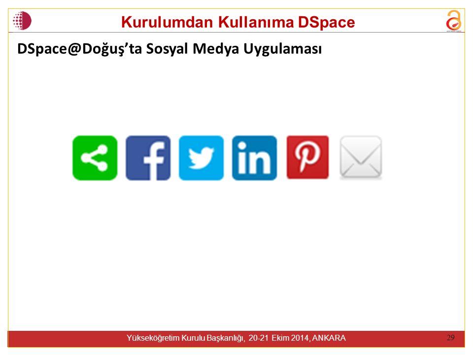 Kurulumdan Kullanıma DSpace Yükseköğretim Kurulu Başkanlığı, 20-21 Ekim 2014, ANKARA 29 DSpace@Doğuş'ta Sosyal Medya Uygulaması