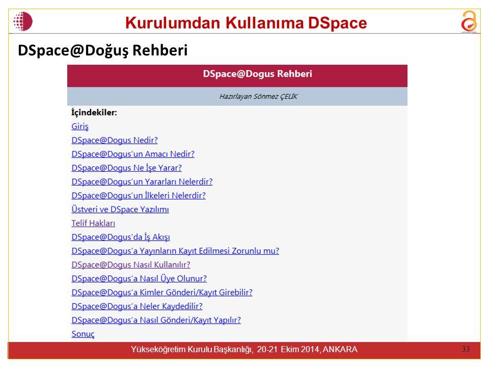Kurulumdan Kullanıma DSpace Yükseköğretim Kurulu Başkanlığı, 20-21 Ekim 2014, ANKARA 33 DSpace@Doğuş Rehberi