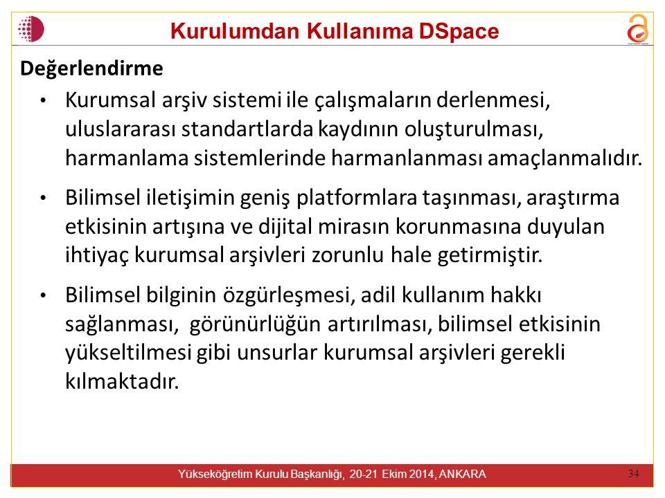 Kurulumdan Kullanıma DSpace Yükseköğretim Kurulu Başkanlığı, 20-21 Ekim 2014, ANKARA 34 Kurumsal arşiv sistemi ile çalışmaların derlenmesi, uluslararası standartlarda kaydının oluşturulması, harmanlama sistemlerinde harmanlanması amaçlanmalıdır.