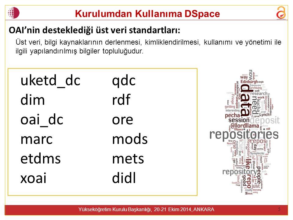 Kurulumdan Kullanıma DSpace Yükseköğretim Kurulu Başkanlığı, 20-21 Ekim 2014, ANKARA 5 uketd_dc dim oai_dc marc etdms xoai qdc rdf ore mods mets didl OAI'nin desteklediği üst veri standartları: Üst veri, bilgi kaynaklarının derlenmesi, kimliklendirilmesi, kullanımı ve yönetimi ile ilgili yapılandırılmış bilgiler topluluğudur.