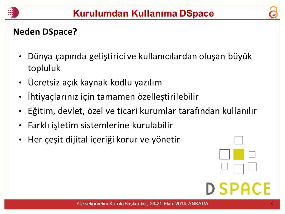 Kurulumdan Kullanıma DSpace Yükseköğretim Kurulu Başkanlığı, 20-21 Ekim 2014, ANKARA 8 Neden DSpace.