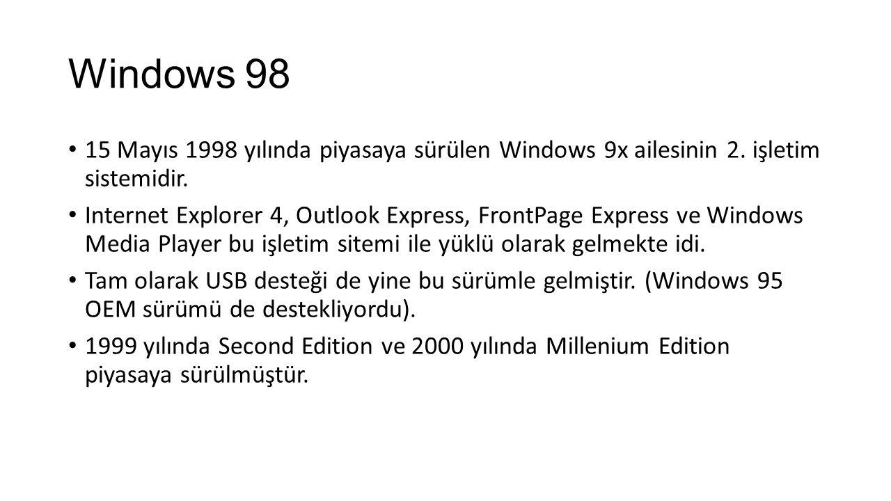 Windows 98 15 Mayıs 1998 yılında piyasaya sürülen Windows 9x ailesinin 2.