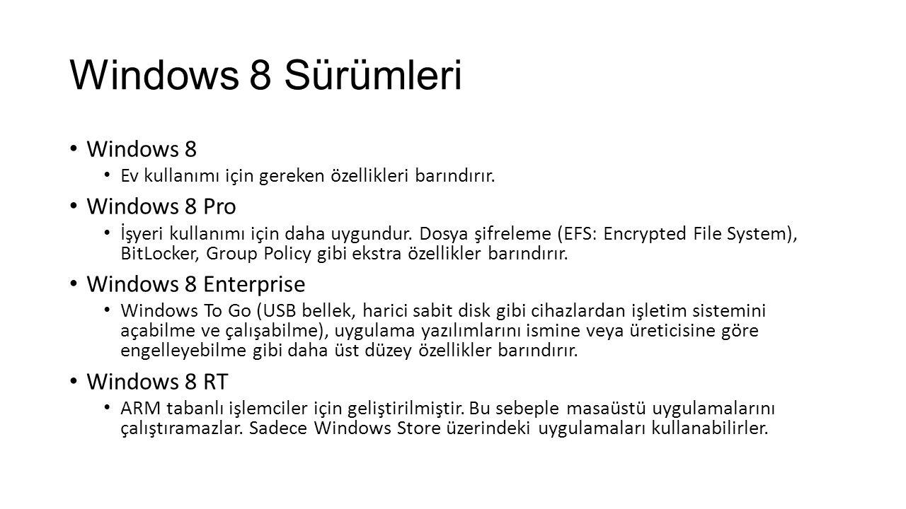 Windows 8 Sürümleri Windows 8 Ev kullanımı için gereken özellikleri barındırır.
