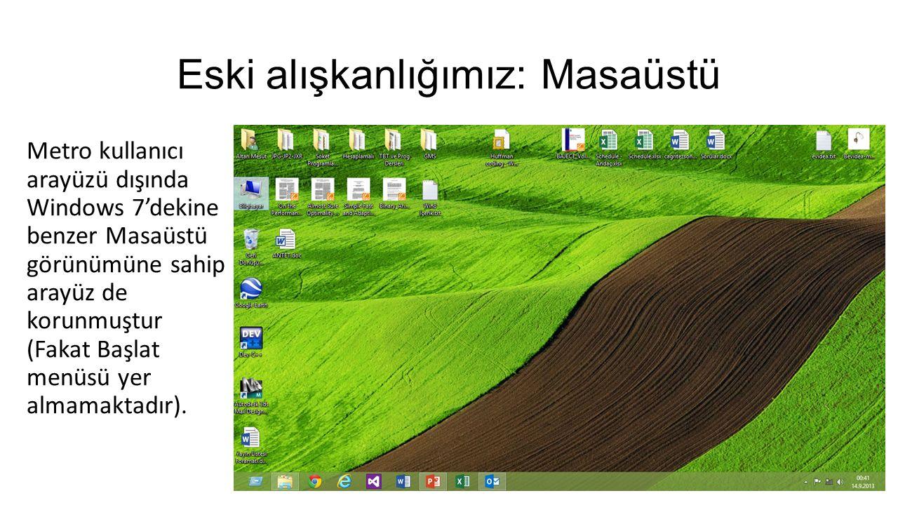 Eski alışkanlığımız: Masaüstü Metro kullanıcı arayüzü dışında Windows 7'dekine benzer Masaüstü görünümüne sahip arayüz de korunmuştur (Fakat Başlat menüsü yer almamaktadır).