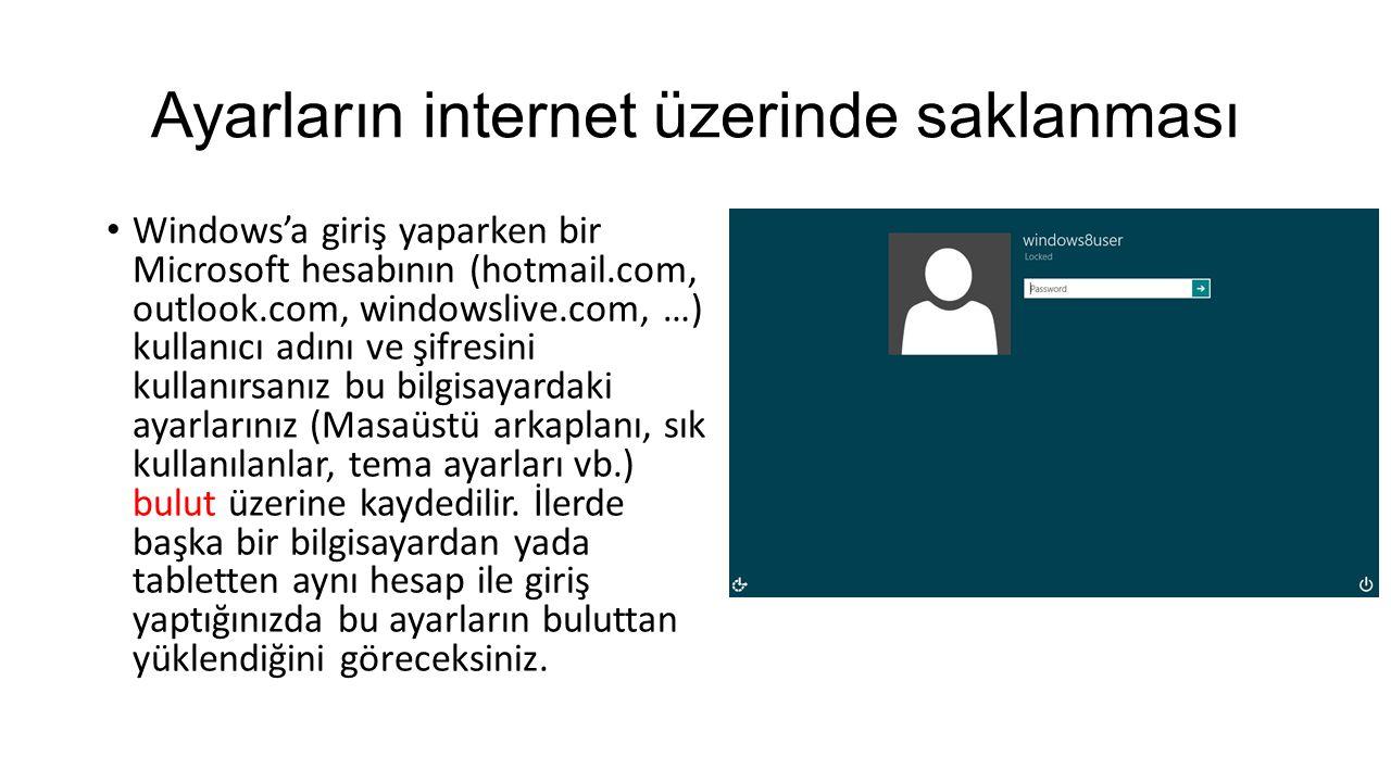 Ayarların internet üzerinde saklanması Windows'a giriş yaparken bir Microsoft hesabının (hotmail.com, outlook.com, windowslive.com, …) kullanıcı adını ve şifresini kullanırsanız bu bilgisayardaki ayarlarınız (Masaüstü arkaplanı, sık kullanılanlar, tema ayarları vb.) bulut üzerine kaydedilir.
