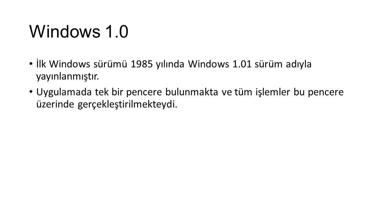Windows 1.0 İlk Windows sürümü 1985 yılında Windows 1.01 sürüm adıyla yayınlanmıştır.