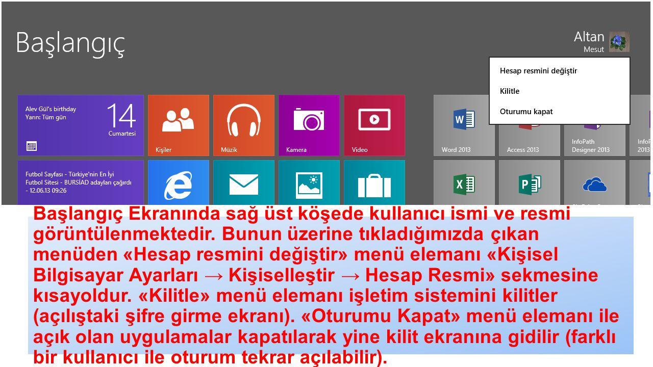 Başlangıç Ekranında sağ üst köşede kullanıcı ismi ve resmi görüntülenmektedir.