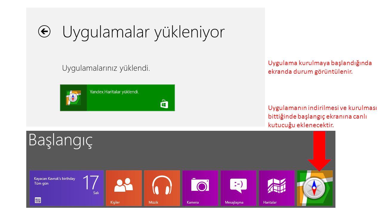 Uygulama kurulmaya başlandığında ekranda durum görüntülenir.