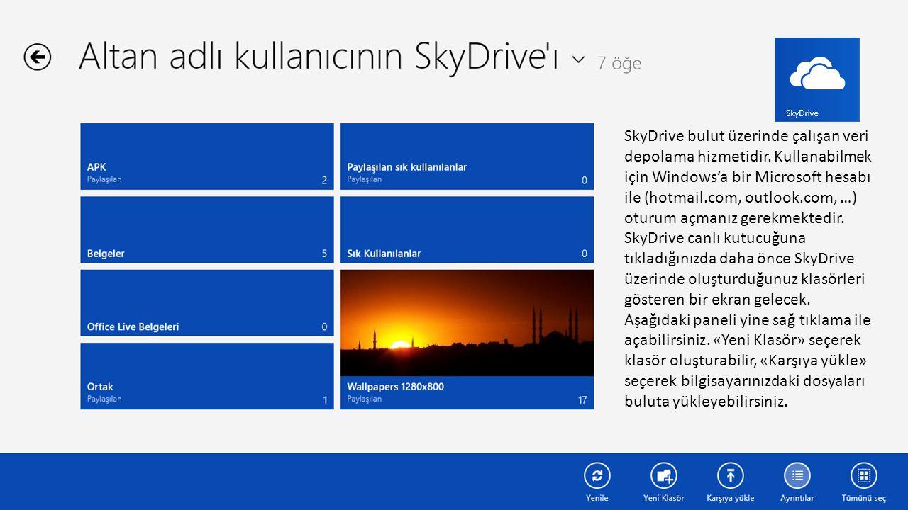SkyDrive bulut üzerinde çalışan veri depolama hizmetidir.