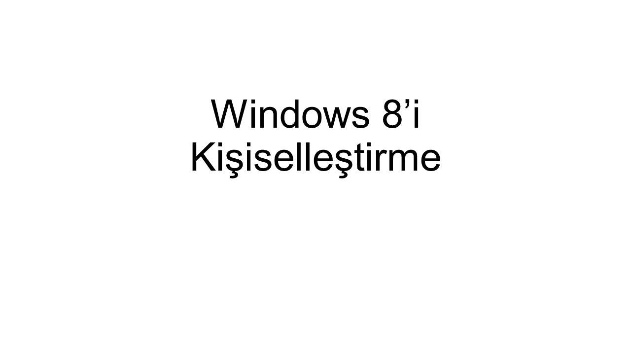 Windows 8'i Kişiselleştirme