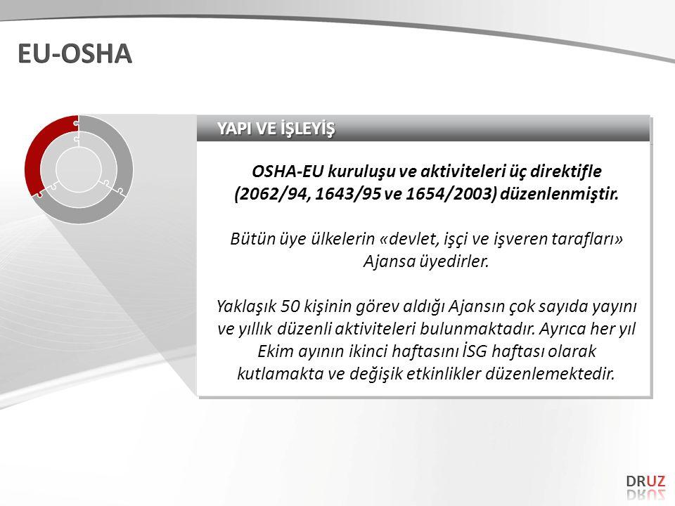 YAPI VE İŞLEYİŞ OSHA-EU kuruluşu ve aktiviteleri üç direktifle (2062/94, 1643/95 ve 1654/2003) düzenlenmiştir.