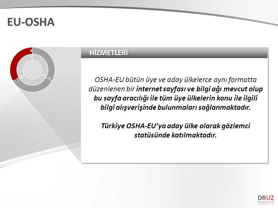 HİZMETLERİHİZMETLERİ OSHA-EU bütün üye ve aday ülkelerce aynı formatta düzenlenen bir internet sayfası ve bilgi ağı mevcut olup bu sayfa aracılığı ile tüm üye ülkelerin konu ile ilgili bilgi alışverişinde bulunmaları sağlanmaktadır.