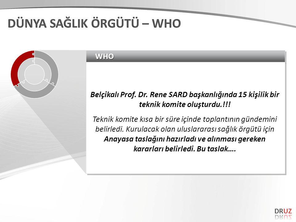 WHOWHO Belçikalı Prof. Dr. Rene SARD başkanlığında 15 kişilik bir teknik komite oluşturdu.!!.