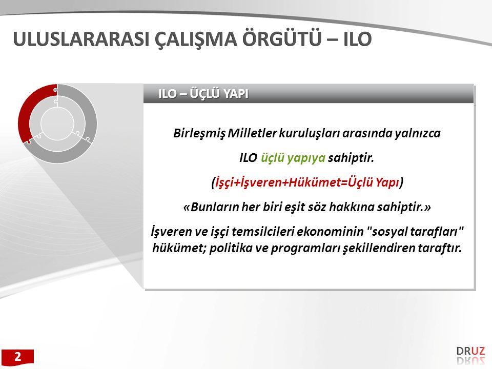MERKEZ BİRİMLERİ 1.Ana Hizmet Birimleri a)Çalışma Genel Müdürlüğü b)Dış İlişkiler ve Yurtdışı İşçi Hizmetleri Genel Müdürlüğü c)İş Sağlığı ve Güvenliği Genel Müdürlüğü -İSGGM İSGÜM (İş Sağlığı Güvenliği Merkezi Müdür) d)Avrupa Birliği Koordinasyon Dairesi Başkanlığı 2.Danışma ve Denetim Birimleri a)Teftiş Kurulu Başkanlığı b)İş Teftiş Kurulu Başkanlığı-İTKB c)İç Denetim Birimi Başkanlığı d)Strateji Geliştirme Başkanlığı e)Hukuk Müşavirliği f)Basın ve Halkla İlişkiler Müşavirliği 3.Yardımcı Birimler / Başkanlıklar a)Personel Dairesi Başkanlığı b)İdari ve Mali İşler Dairesi Başkanlığı c)Bilgi İşlem Daire Başkanlığı TAŞRA-YURTDIŞI-İLGİL VE BAĞLI KURULUŞLAR 1.Taşra Teşkilatı 2.Yurt Dışı Teşkilatı 3.İlgili Kuruluşlar a)Sosyal Güvenlik Kurumu Başkanlığı-SGK b)Türkiye İş Kurumu Genel Müdürlüğü c)Mesleki Yeterlilik Kurumu 4.Bağlı Kuruluşlar a)Çalışma ve Sosyal Güvenlik Eğitim ve Araştırma Merkezi-ÇASGEM b)Amele Birliği Biriktirme ve Yardımlaşma Sandığı 3