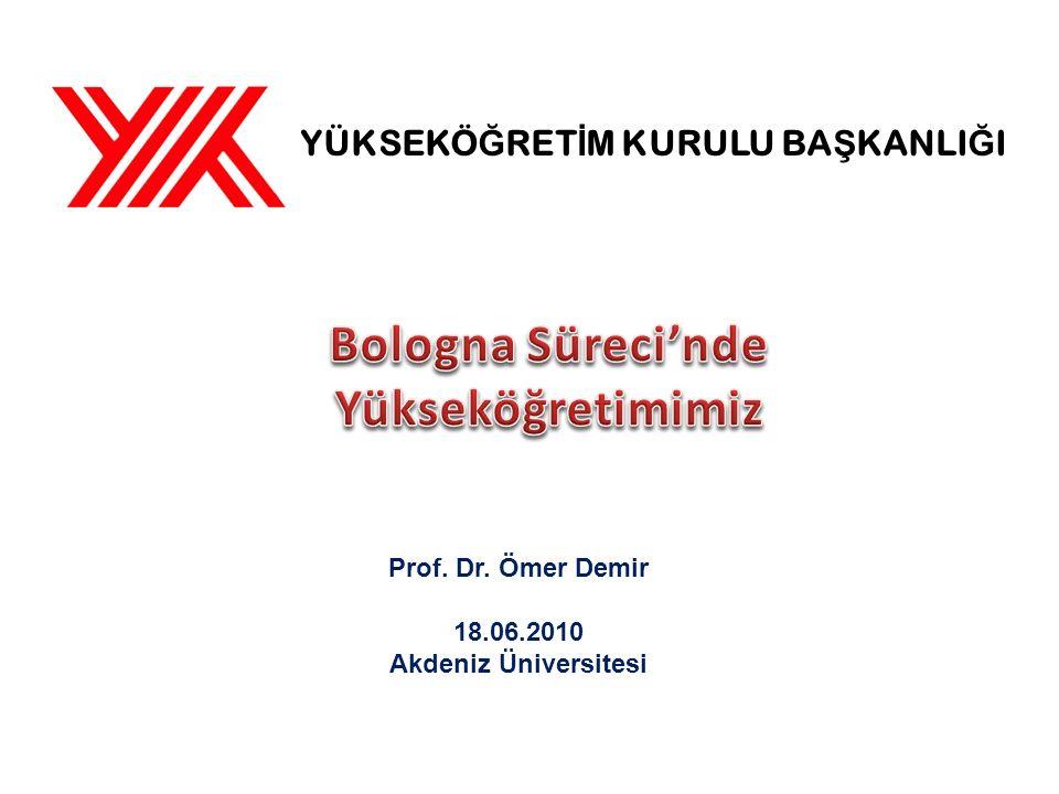 YÜKSEKÖ Ğ RET İ M KURULU BA Ş KANLI Ğ I Prof. Dr. Ömer Demir 18.06.2010 Akdeniz Üniversitesi