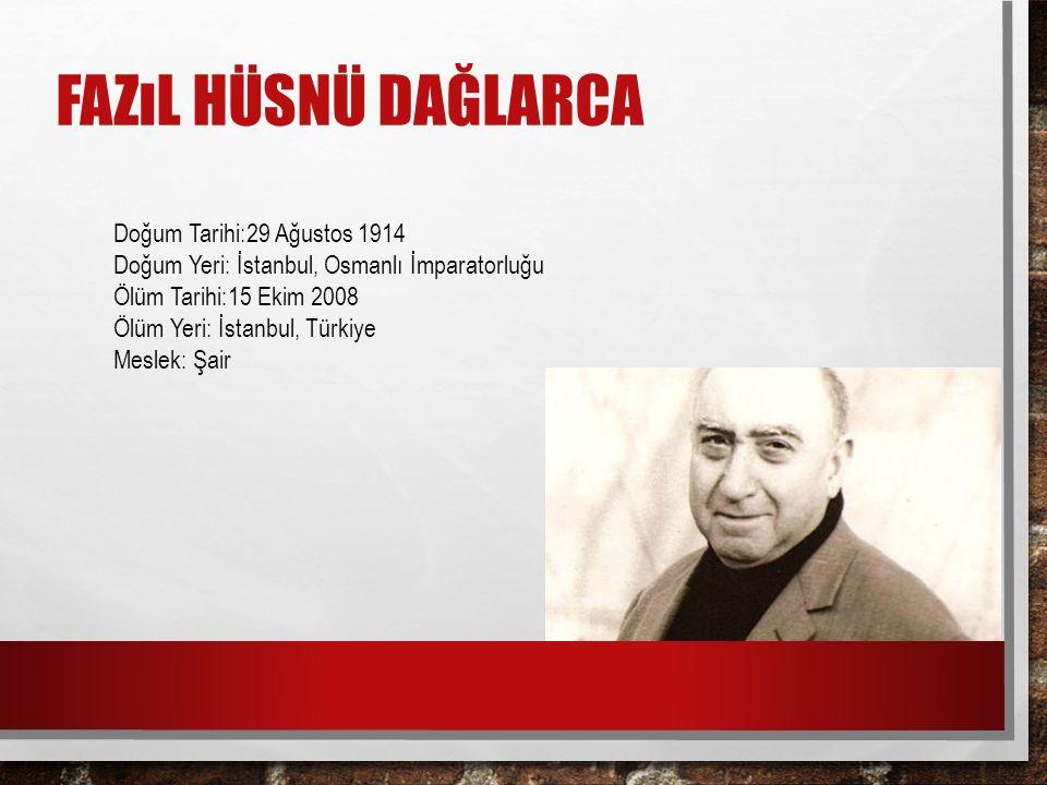 Doğum Tarihi:29 Ağustos 1914 Doğum Yeri: İstanbul, Osmanlı İmparatorluğu Ölüm Tarihi:15 Ekim 2008 Ölüm Yeri: İstanbul, Türkiye Meslek: Şair