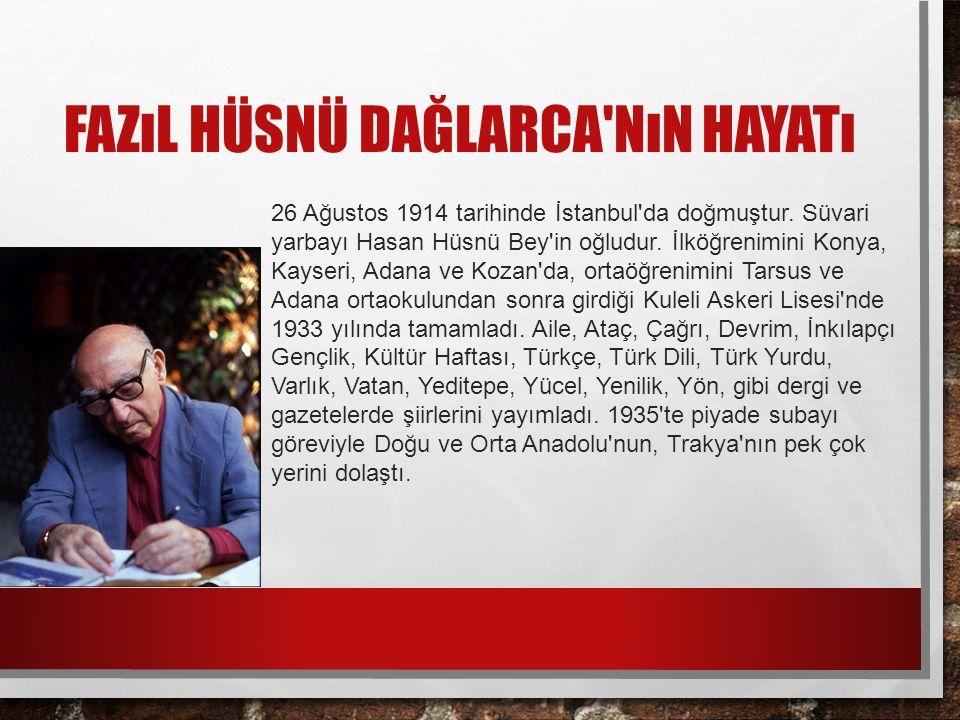 FAZıL HÜSNÜ DAĞLARCA NıN HAYATı 26 Ağustos 1914 tarihinde İstanbul da doğmuştur.