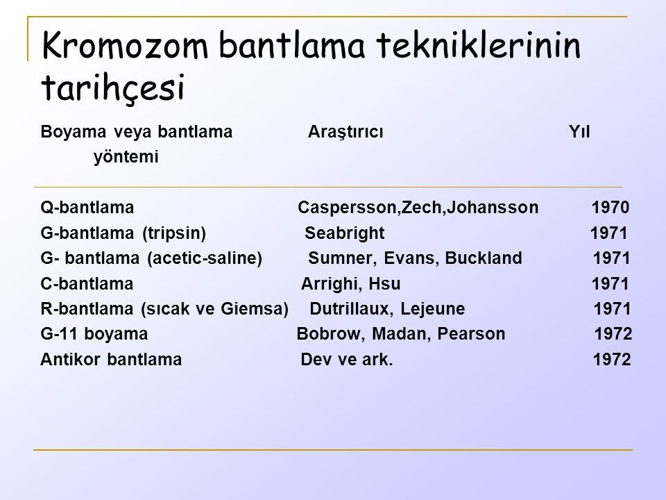 Kromozom bantlama tekniklerinin tarihçesi Boyama veya bantlama Araştırıcı Yıl yöntemi Q-bantlama Caspersson,Zech,Johansson 1970 G-bantlama (tripsin) Seabright 1971 G- bantlama (acetic-saline) Sumner, Evans, Buckland 1971 C-bantlama Arrighi, Hsu 1971 R-bantlama (sıcak ve Giemsa) Dutrillaux, Lejeune 1971 G-11 boyama Bobrow, Madan, Pearson 1972 Antikor bantlama Dev ve ark.