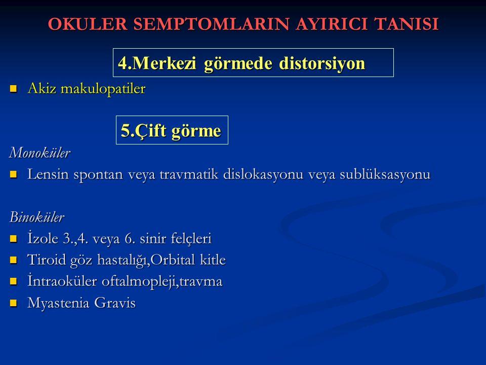 OKULER SEMPTOMLARIN AYIRICI TANISI Akiz makulopatiler Akiz makulopatilerMonoküler Lensin spontan veya travmatik dislokasyonu veya sublüksasyonu Lensin spontan veya travmatik dislokasyonu veya sublüksasyonuBinoküler İzole 3.,4.