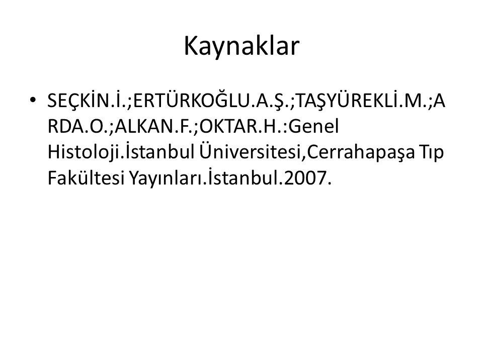 Kaynaklar SEÇKİN.İ.;ERTÜRKOĞLU.A.Ş.;TAŞYÜREKLİ.M.;A RDA.O.;ALKAN.F.;OKTAR.H.:Genel Histoloji.İstanbul Üniversitesi,Cerrahapaşa Tıp Fakültesi Yayınları.İstanbul.2007.