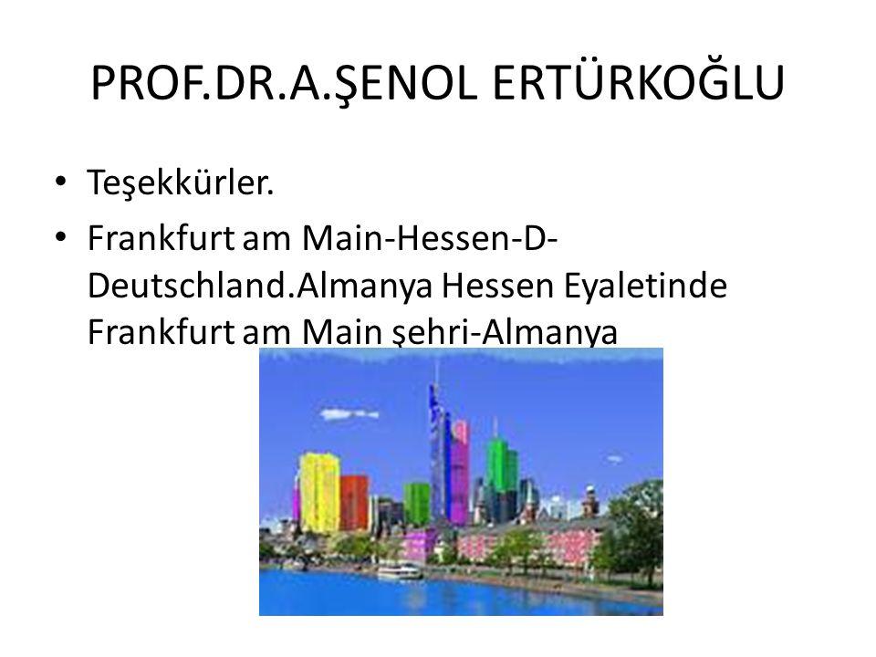 PROF.DR.A.ŞENOL ERTÜRKOĞLU Teşekkürler.