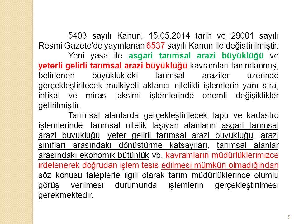 5 5403 sayılı Kanun, 15.05.2014 tarih ve 29001 sayılı Resmi Gazete de yayınlanan 6537 sayılı Kanun ile değiştirilmiştir.