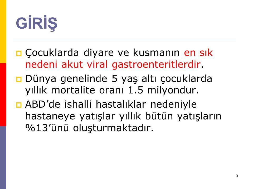 3 GİRİŞ  Çocuklarda diyare ve kusmanın en sık nedeni akut viral gastroenteritlerdir.  Dünya genelinde 5 yaş altı çocuklarda yıllık mortalite oranı 1