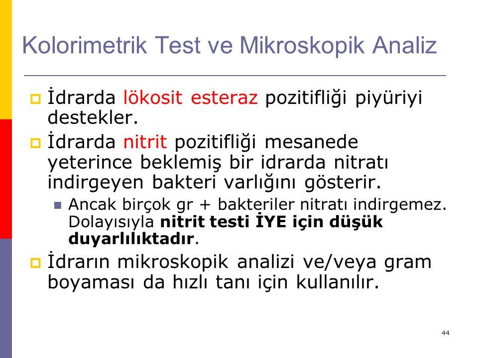 44 Kolorimetrik Test ve Mikroskopik Analiz  İdrarda lökosit esteraz pozitifliği piyüriyi destekler.  İdrarda nitrit pozitifliği mesanede yeterince b