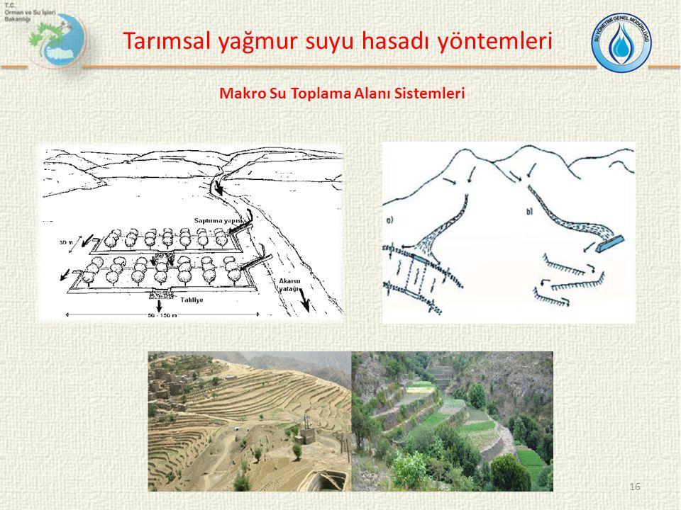 16 Tarımsal yağmur suyu hasadı yöntemleri Makro Su Toplama Alanı Sistemleri