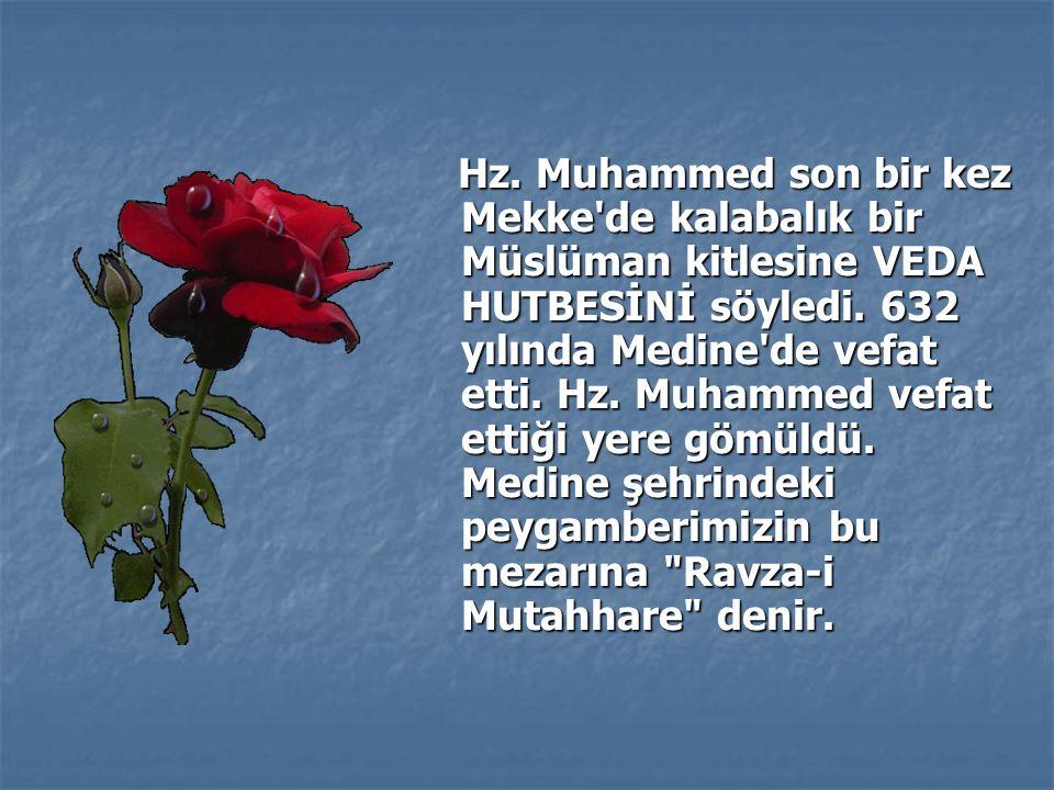 Hz. Muhammed son bir kez Mekke de kalabalık bir Müslüman kitlesine VEDA HUTBESİNİ söyledi.