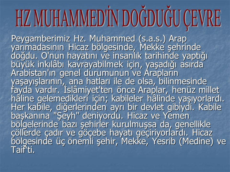 Peygamberimiz Hz. Muhammed (s.a.s.) Arap yarımadasının Hicaz bölgesinde, Mekke şehrinde doğdu.