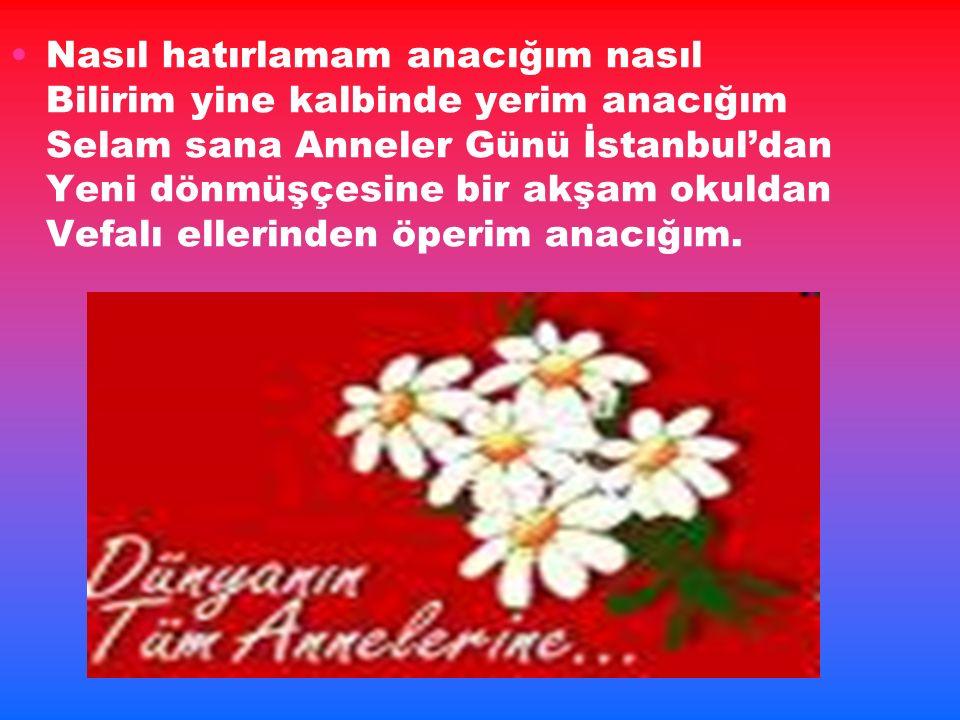 Nasıl hatırlamam anacığım nasıl Bilirim yine kalbinde yerim anacığım Selam sana Anneler Günü İstanbul'dan Yeni dönmüşçesine bir akşam okuldan Vefalı ellerinden öperim anacığım.
