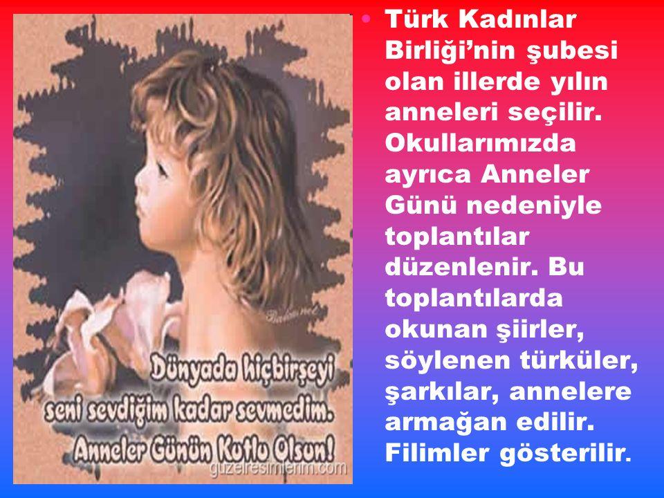 Türk Kadınlar Birliği'nin şubesi olan illerde yılın anneleri seçilir.