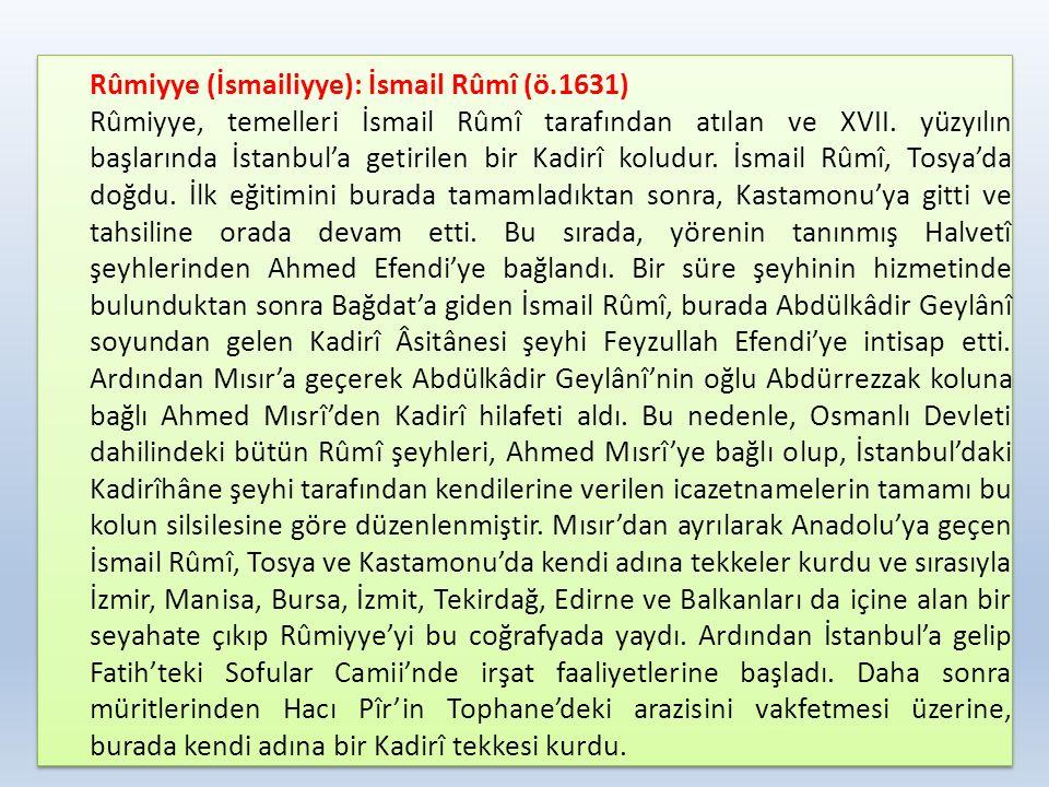 Rûmiyye (İsmailiyye): İsmail Rûmî (ö.1631) Rûmiyye, temelleri İsmail Rûmî tarafından atılan ve XVII. yüzyılın başlarında İstanbul'a getirilen bir Kadi