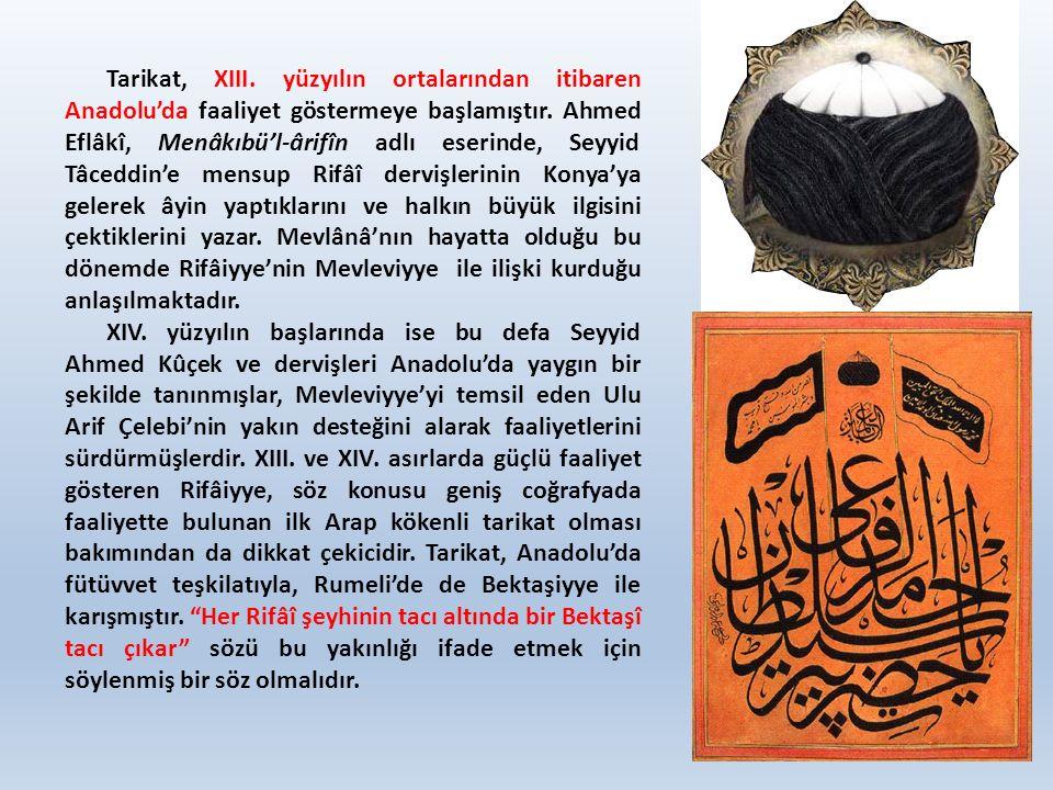 Tarikat, XIII. yüzyılın ortalarından itibaren Anadolu'da faaliyet göstermeye başlamıştır. Ahmed Eflâkî, Menâkıbü'l-ârifîn adlı eserinde, Seyyid Tâcedd