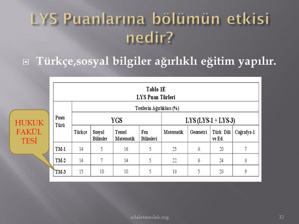  Türkçe,sosyal bilgiler ağırlıklı eğitim yapılır. HUKUK FAKÜL TESİ 32adaletmeslek.org